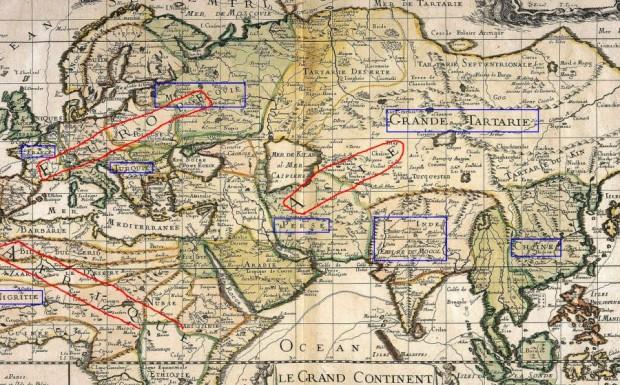 Карта мира во время Великих Географических открытий